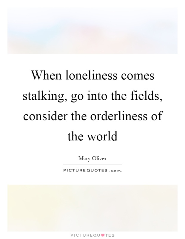 When loneliness comes stalking, go into the fields, consider the orderliness of the world Picture Quote #1