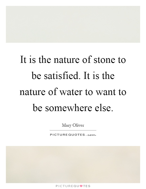 It is the nature of stone to be satisfied. It is the nature of water to want to be somewhere else Picture Quote #1