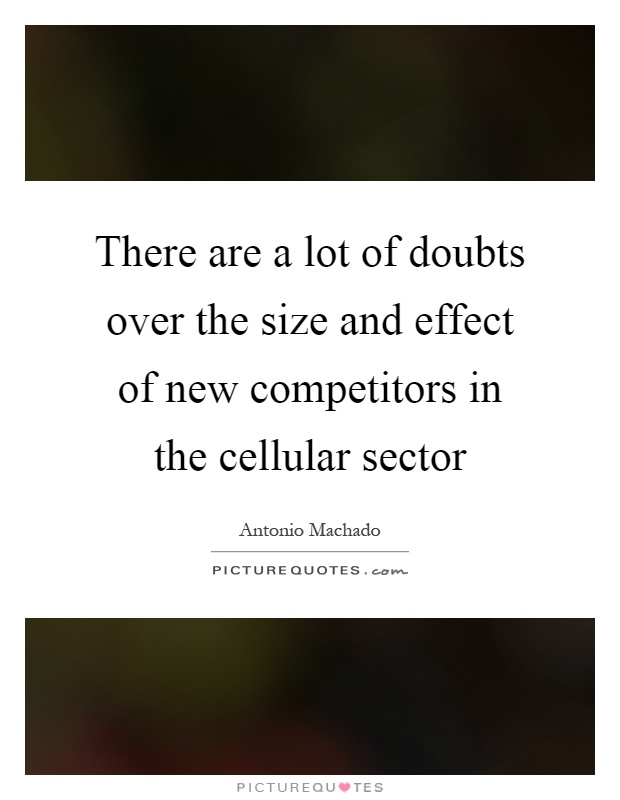 There are a lot of doubts over the size and effect of new competitors in the cellular sector Picture Quote #1
