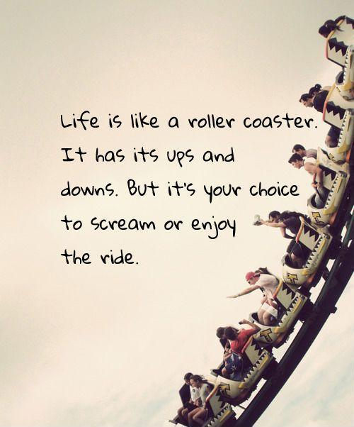 Life is like a roller coaster. It has its ups and downs. But it's your choice to scream or enjoy the ride. Picture Quote #1