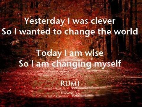 Yesterday I was clever, so I wanted to change the world. Today I am wise, so I am changing myself Picture Quote #1