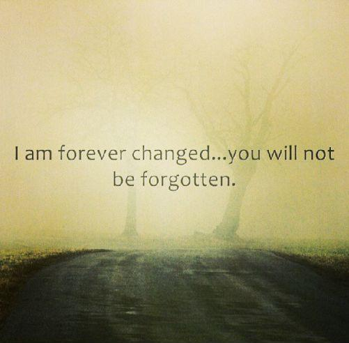 I am forever changed, you will not be forgotten Picture Quote #1