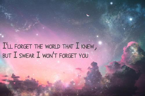 I'll forget the world that I knew, but I swear I won't forget you Picture Quote #1