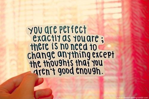 You are perfect exactly as you are. There is no need to change anything except the thoughts that you aren't good enough Picture Quote #1