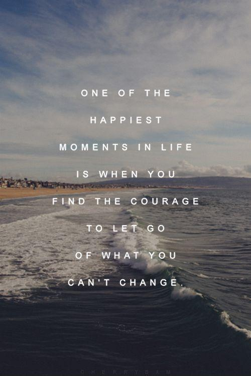 One of the happiest moments in life is when you find the courage to let go of what you can't change Picture Quote #1