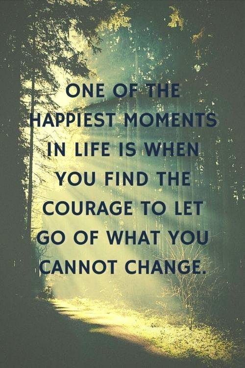 One of the happiest moments in life is when you find the courage to let go of what you can't change Picture Quote #2