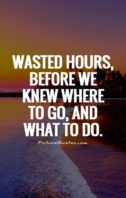 Wasted hours, before we knew where to go, and what to do Picture Quote #1