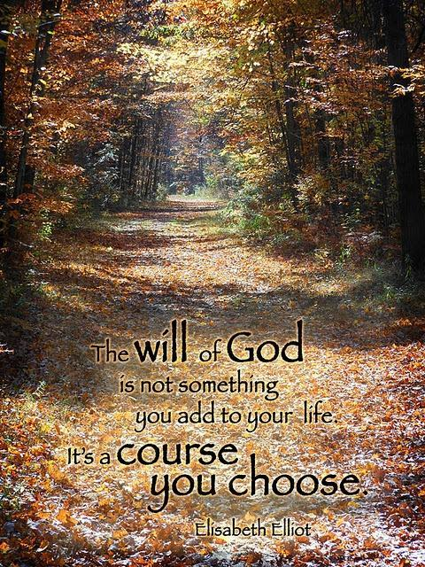 The will of God is not something you add to your life. It's a course you choose Picture Quote #1