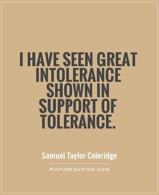 I have seen great intolerance shown in support of tolerance Picture Quote #1