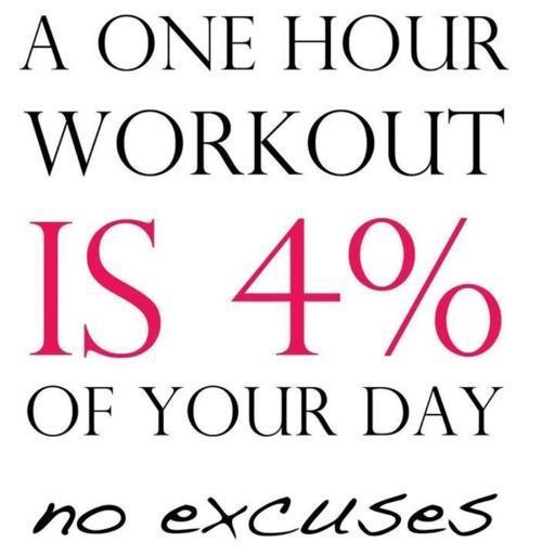 A one hour workout is 4% of your day. No excuses Picture Quote #1