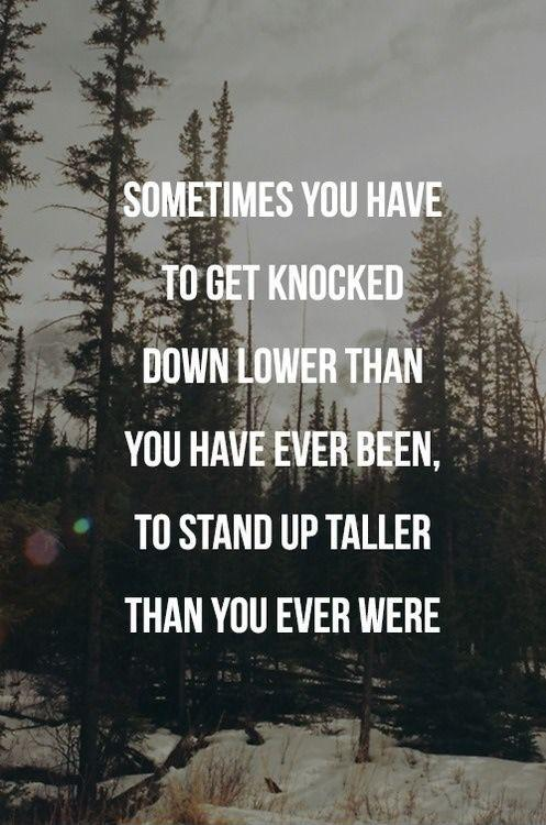 Sometimes you have to get knocked down lower than you have ever been, to stand up taller than you ever were Picture Quote #1