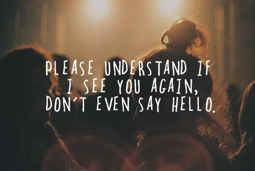 Please understand if i see you again, don't even say hello Picture Quote #1