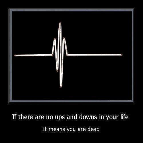 If there are no ups and downs in your life it means you are dead Picture Quote #1