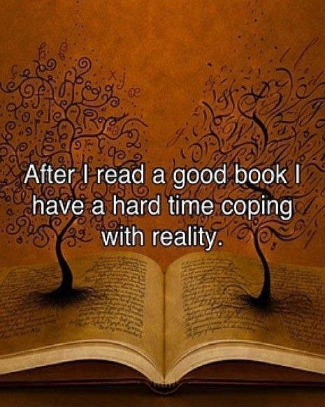 After i read a good book i have a hard time coping with reality Picture Quote #1