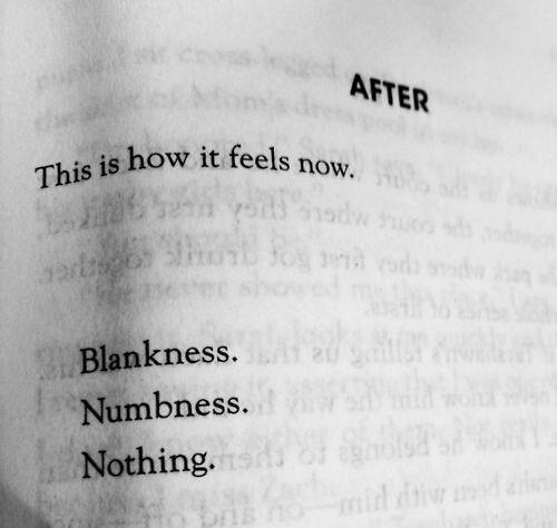 This is how it feels now. Blankness. Numbness. Nothing Picture Quote #1