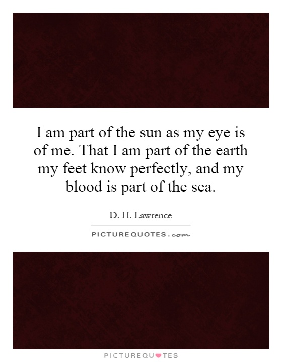 I am part of the sun as my eye is of me. That I am part of the earth my feet know perfectly, and my blood is part of the sea Picture Quote #1