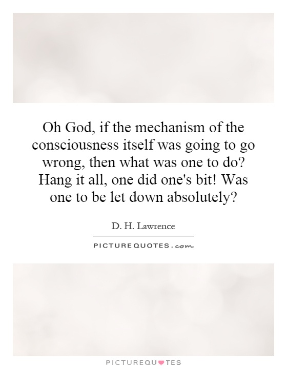 Oh God, if the mechanism of the consciousness itself was going to go wrong, then what was one to do? Hang it all, one did one's bit! Was one to be let down absolutely? Picture Quote #1