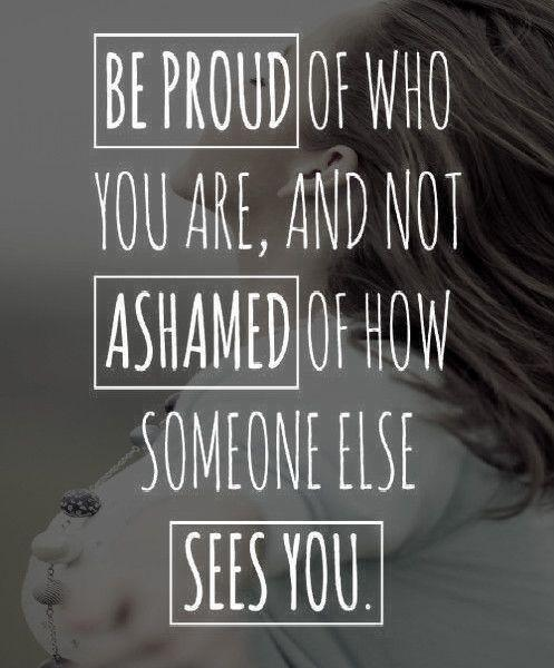 Be proud of who you are, and not ashamed of how someone else sees you Picture Quote #1