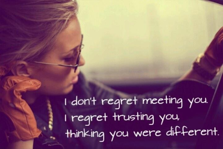 I don't regret meeting you. I regret trusting you, thinking you were different Picture Quote #1