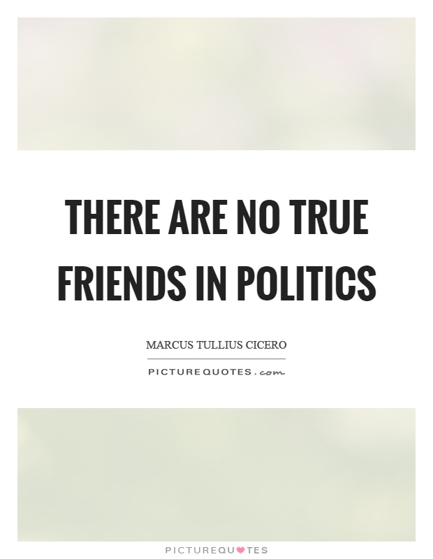 There are no true friends in politics Picture Quote #1