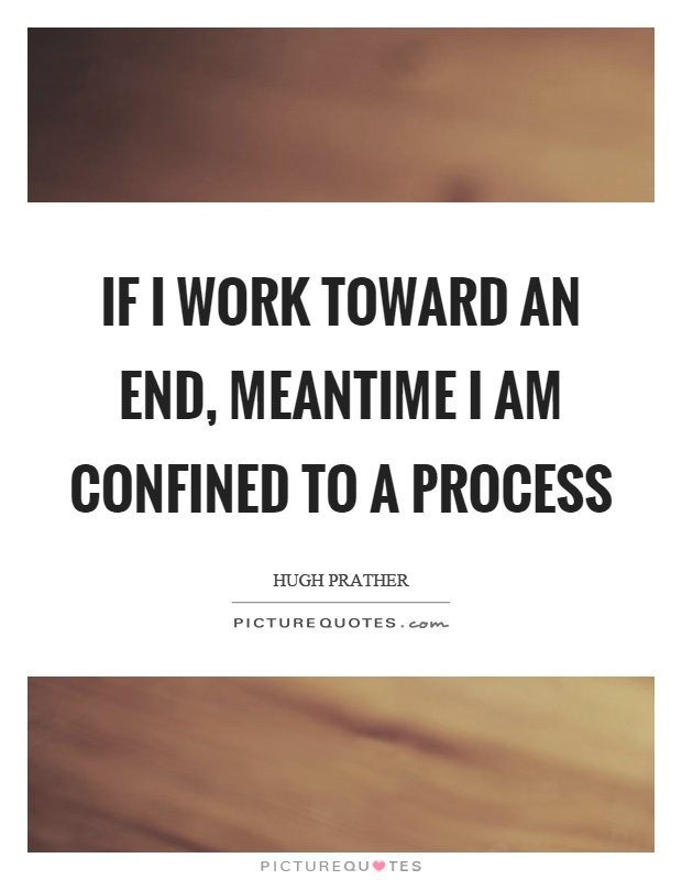 If I work toward an end, meantime I am confined to a process Picture Quote #1