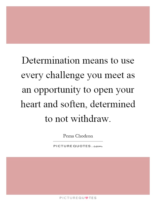 Determination means to use every challenge you meet as an opportunity to open your heart and soften, determined to not withdraw Picture Quote #1