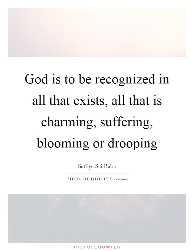 God is to be recognized in all that exists, all that is charming, suffering, blooming or drooping Picture Quote #1
