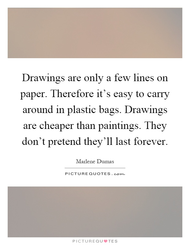 Drawings are only a few lines on paper. Therefore it's easy to carry around in plastic bags. Drawings are cheaper than paintings. They don't pretend they'll last forever Picture Quote #1