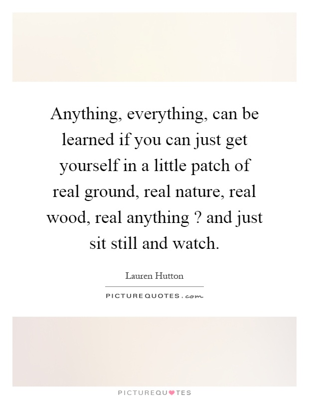 Anything, everything, can be learned if you can just get yourself in a little patch of real ground, real nature, real wood, real anything? and just sit still and watch Picture Quote #1