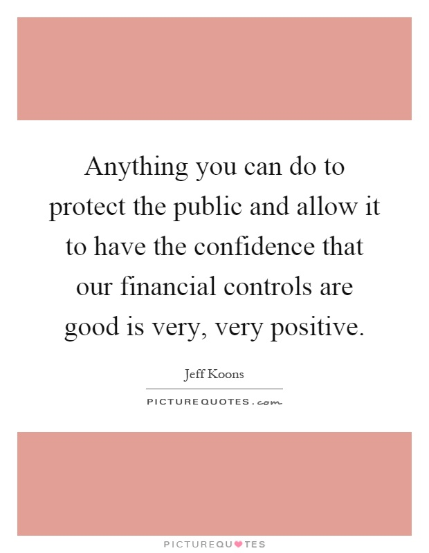 Anything you can do to protect the public and allow it to have the confidence that our financial controls are good is very, very positive Picture Quote #1