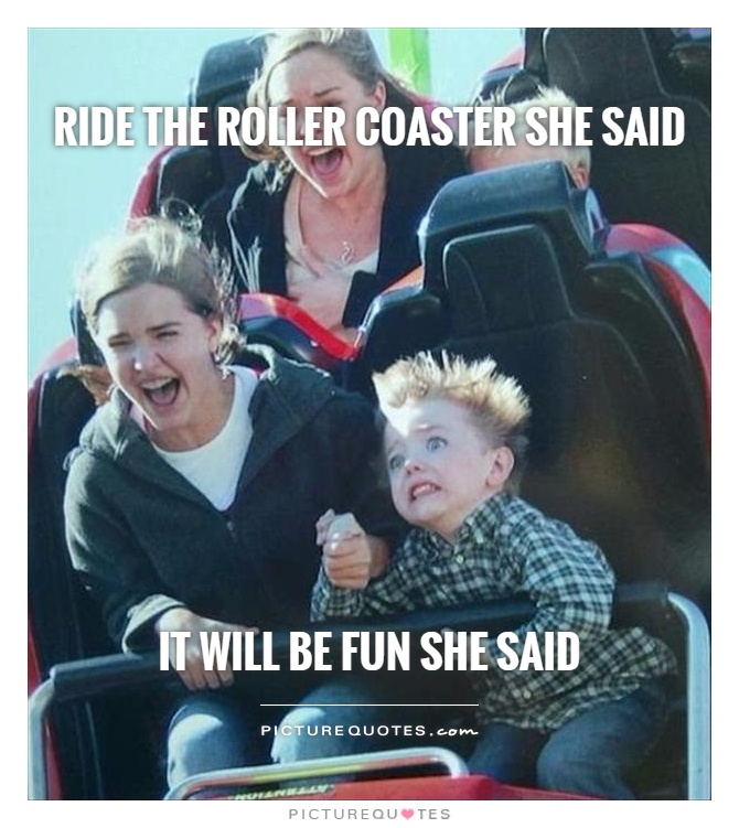 Ride the roller coaster she said        It will be fun she said Picture Quote #1