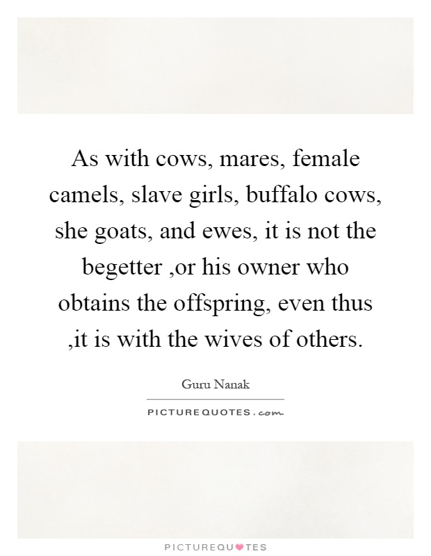 As with cows, mares, female camels, slave girls, buffalo cows, she goats, and ewes, it is not the begetter,or his owner who obtains the offspring, even thus,it is with the wives of others Picture Quote #1