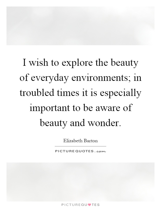 I wish to explore the beauty of everyday environments; in troubled times it is especially important to be aware of beauty and wonder Picture Quote #1