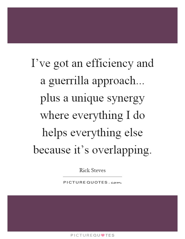 I've got an efficiency and a guerrilla approach... plus a unique synergy where everything I do helps everything else because it's overlapping Picture Quote #1