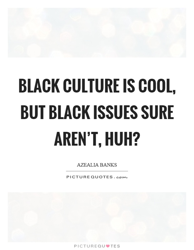 Black culture is cool, but black issues sure aren't, huh? Picture Quote #1