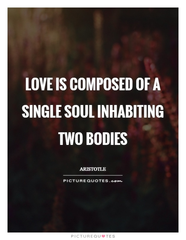 Love is composed of a single soul inhabiting two bodies Picture Quote #1