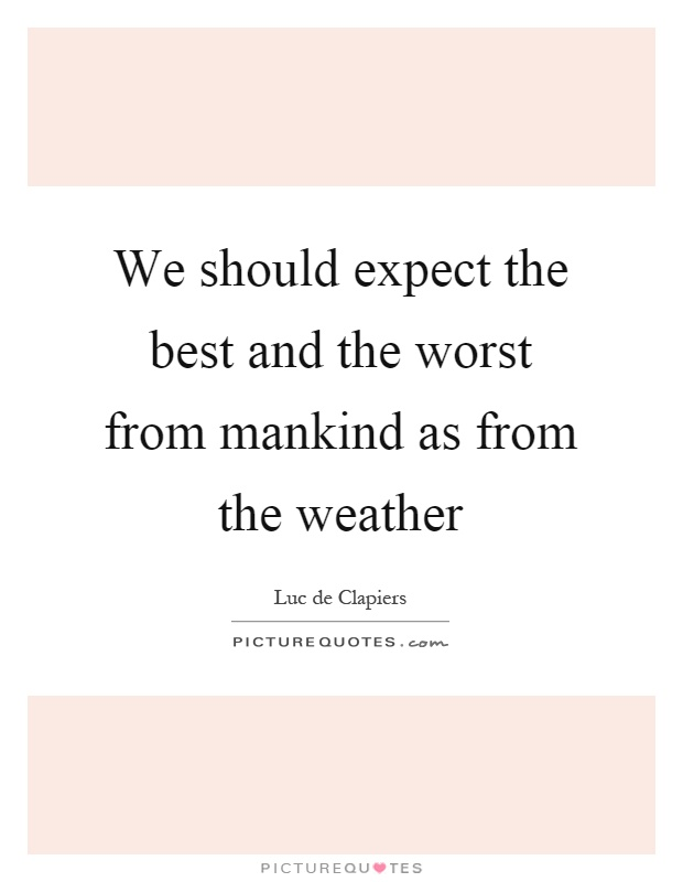 We should expect the best and the worst from mankind as from the weather Picture Quote #1
