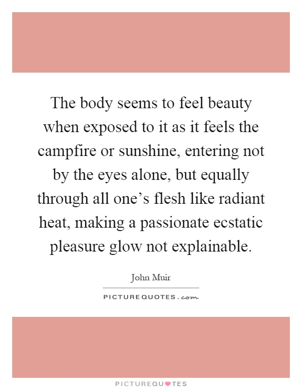 The body seems to feel beauty when exposed to it as it feels the campfire or sunshine, entering not by the eyes alone, but equally through all one's flesh like radiant heat, making a passionate ecstatic pleasure glow not explainable Picture Quote #1