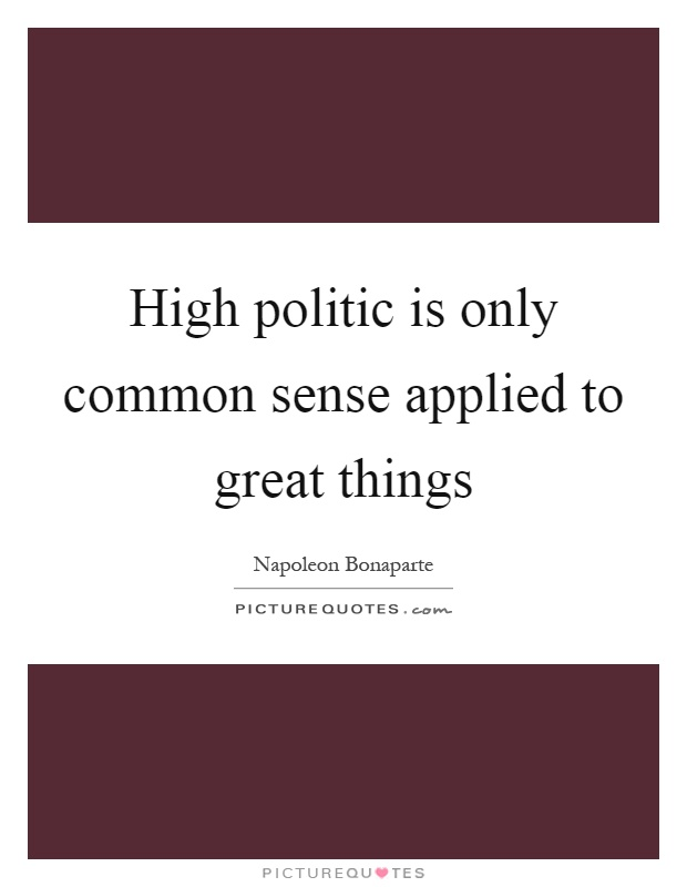 High politic is only common sense applied to great things Picture Quote #1