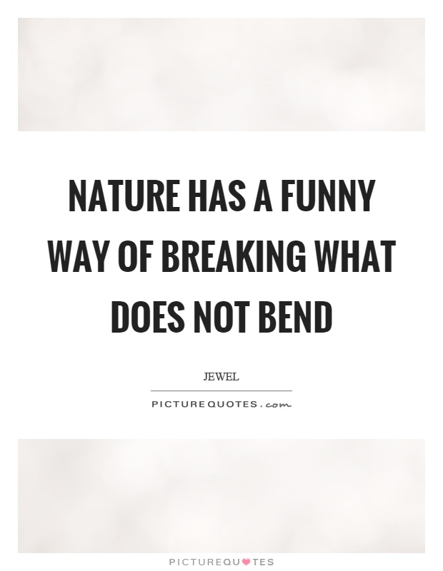Nature has a funny way of breaking what does not bend Picture Quote #1