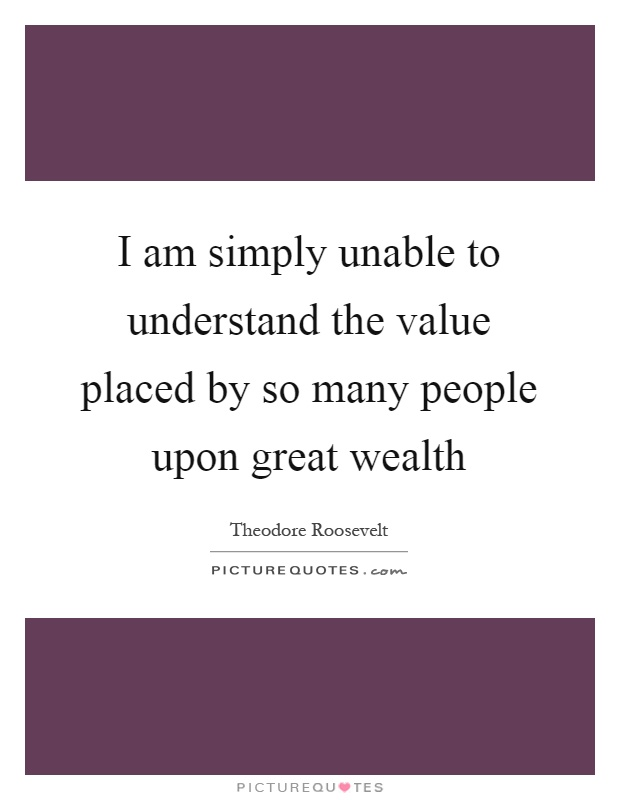 I am simply unable to understand the value placed by so many people upon great wealth Picture Quote #1