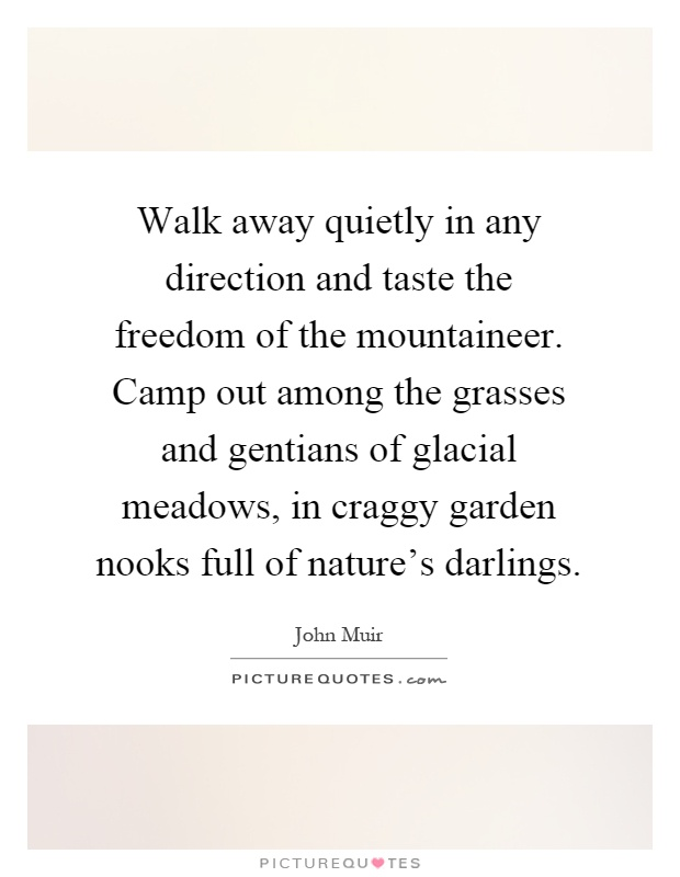 Walk away quietly in any direction and taste the freedom of the mountaineer. Camp out among the grasses and gentians of glacial meadows, in craggy garden nooks full of nature's darlings Picture Quote #1