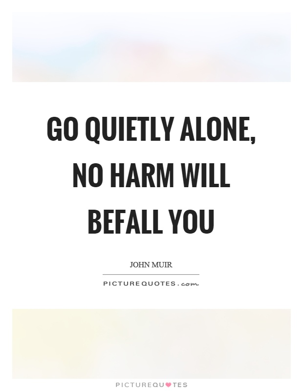 Go quietly alone, no harm will befall you Picture Quote #1