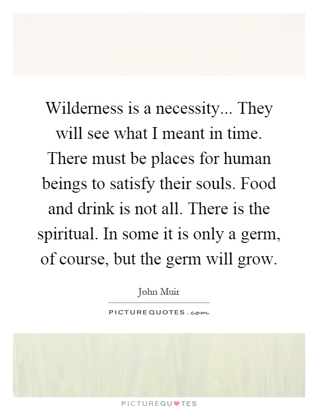 Wilderness is a necessity... They will see what I meant in time. There must be places for human beings to satisfy their souls. Food and drink is not all. There is the spiritual. In some it is only a germ, of course, but the germ will grow Picture Quote #1