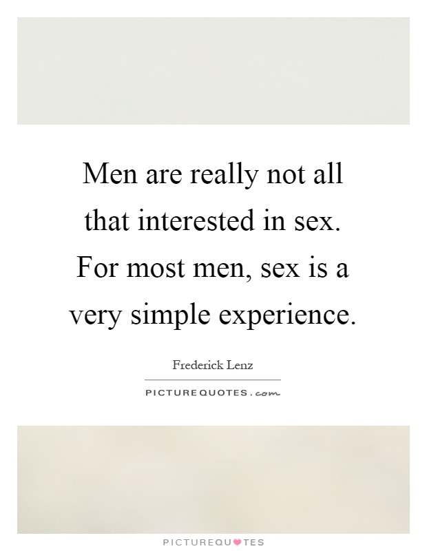 Meet men not interested in sex