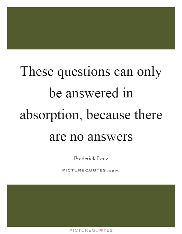 These questions can only be answered in absorption, because there are no answers Picture Quote #1