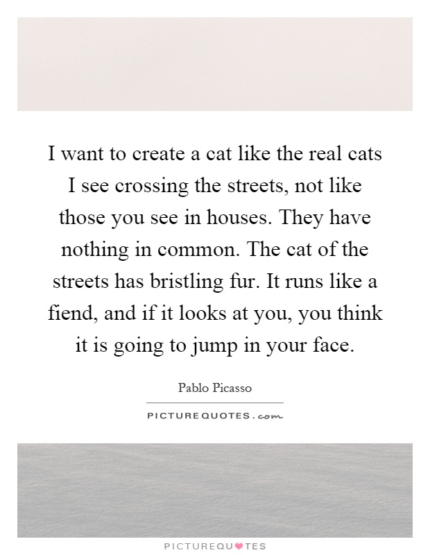 I want to create a cat like the real cats I see crossing the streets, not like those you see in houses. They have nothing in common. The cat of the streets has bristling fur. It runs like a fiend, and if it looks at you, you think it is going to jump in your face Picture Quote #1