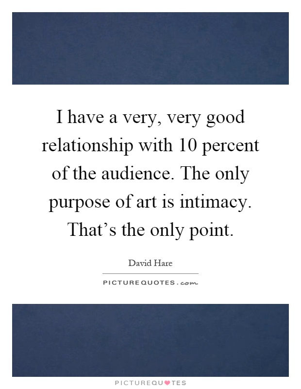 I have a very, very good relationship with 10 percent of the audience. The only purpose of art is intimacy. That's the only point Picture Quote #1