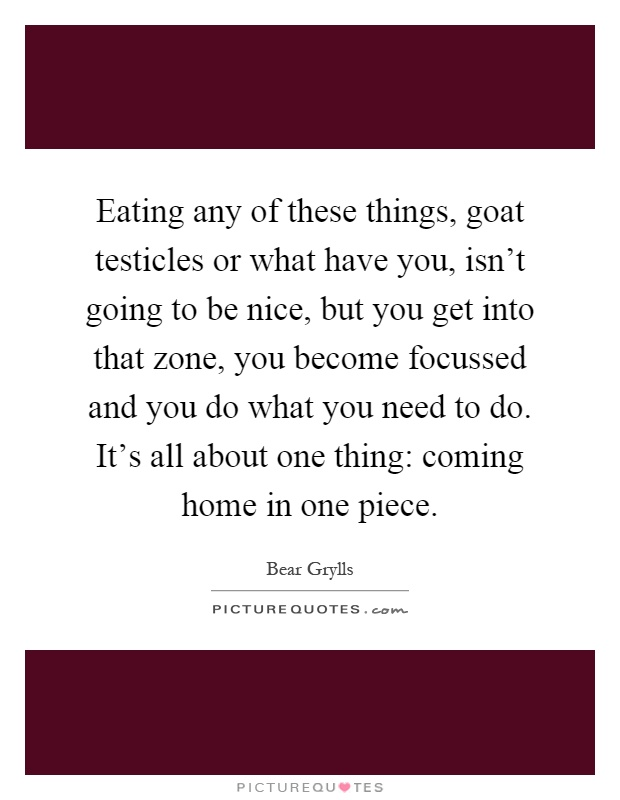 Eating any of these things, goat testicles or what have you, isn't going to be nice, but you get into that zone, you become focussed and you do what you need to do. It's all about one thing: coming home in one piece Picture Quote #1