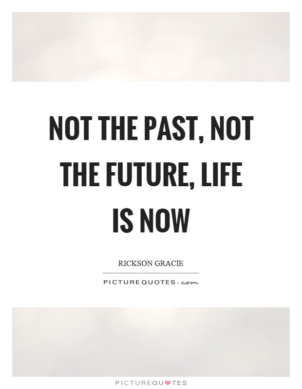 Not the past, not the future, life is now Picture Quote #1